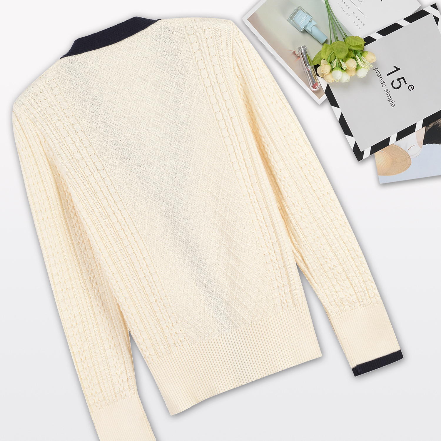 2018 New Fasion Autumn Winter Ladies Pure Color V-neck Knitted Cardigan + Short Ball Gown Set Women Girls Skirt Suits C19040401