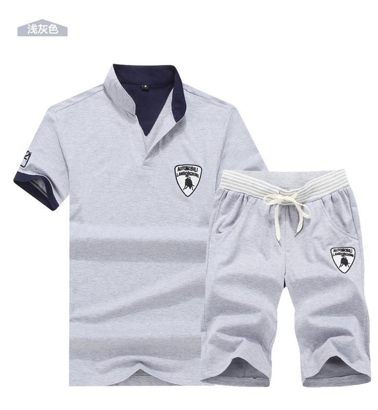 Summer Men's Short Sleeve T-shirt Korean Edition Leisure Sports Suit 2019 New Style