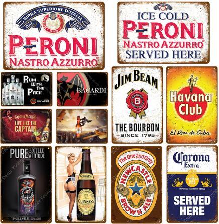 BACARDI CUBA Vintage Metal Pub Sign3D Embossed SteelHome Bar