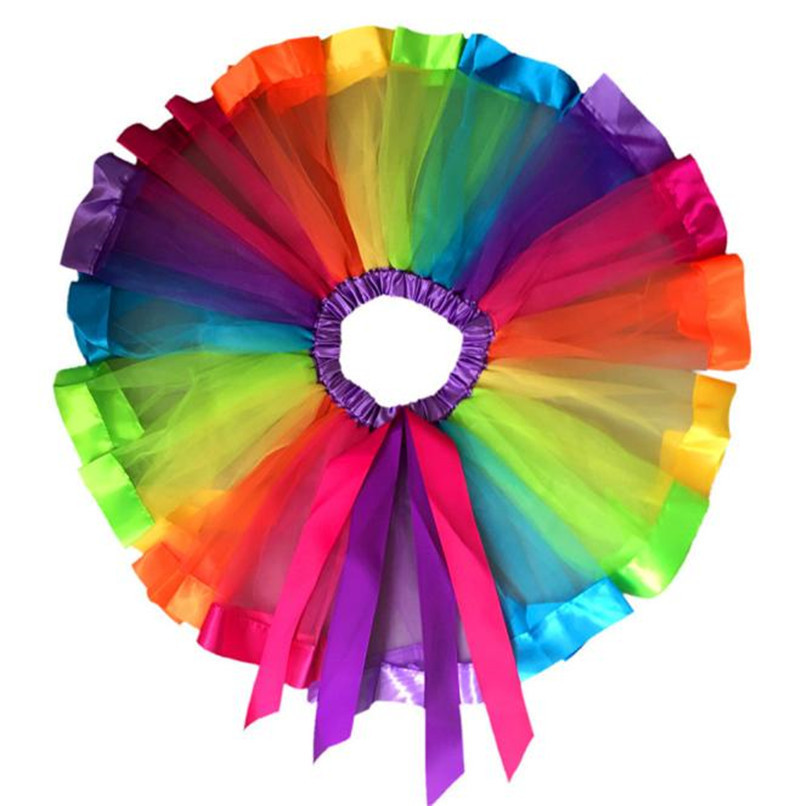 Summer Children Dress Baby Girls Kids Petticoat Rainbow Pettiskirt Bowknot Skirt Tutu Skirts Dance Skirt NDA84L19 (7)
