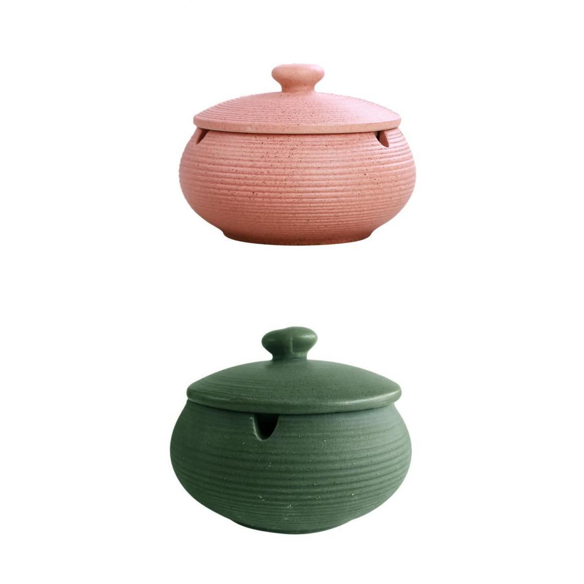 Ashtrays 2pcs Nordic Style Ashtray Ceramics Ashtray With Lid For Indoor And Outdoor Use Collectables Cruzeirista Com Br