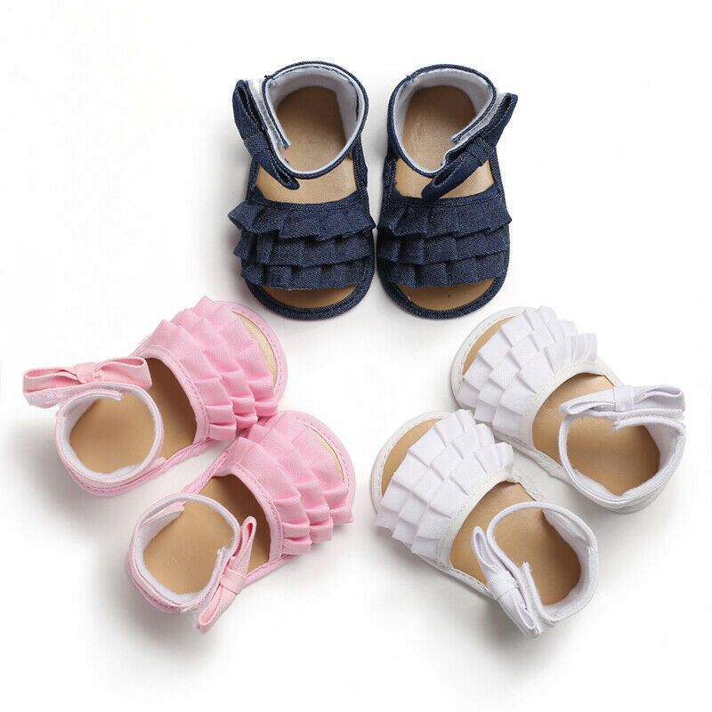 Newborn Baby Girl Floral Crib Chaussures Anti-Dérapant Sandales Enfant Princesse Chaussures 0-12