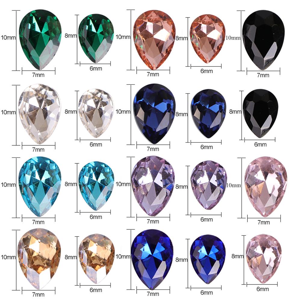 Drop Water Nail Art Rhinestones Crystal Stones 7x10mm/6x8mm Shiny DIY Charms Jewelry Nail Art Decoration TR030 D19010803