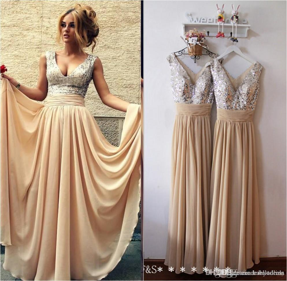 2016 Ready To Ship Sequins Prom Dresses Long Sexy V Neck Pleated A-Line Long Chiffon Formal Party Dresses Evening Gowns Bridesmaid Gowns 046