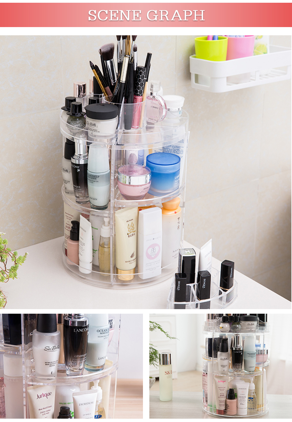 Makeup Organizer 360 Rotating Adjustable Storage Box Plastic Clear AcrylicTransparent Box Jewelry Necklace Nail Polish Cosmetic (5)