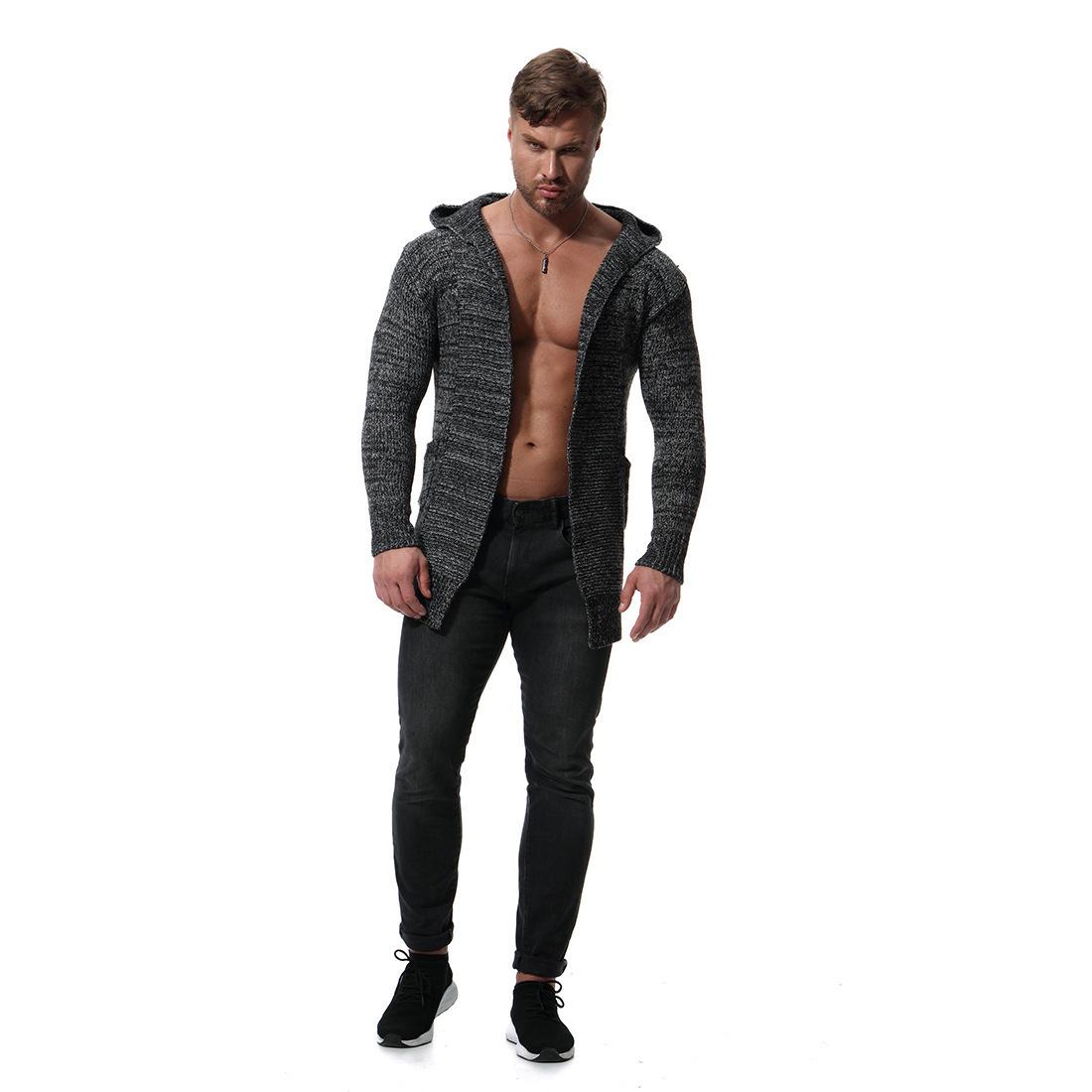 Sweater Cardigan Men 2019 Male Brand Casual Slim Sweaters Men Pure Color Hedging Long Men's Sweater