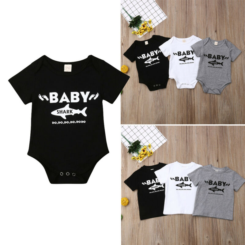 Christmas Shark Doo Newborn Baby Boy Girl Romper Jumpsuit Long Sleeve Bodysuit Overalls Outfits Clothes