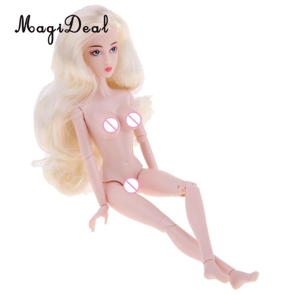 14 Joints Female Doll Vinyl Blank Body with Golden Wavy Wig for 1/6 BJD Doll DIY Accessories