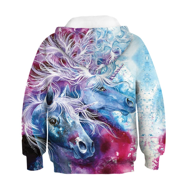 Raisevern Fashion Sweatshirts 3D Printed Colorful Paint Lovely Unicorn Horse Funny Hoodies Children Harajuku Hooded Pullovers