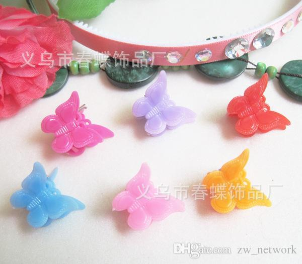 mixed Color butterfly clips for kids Plastic Butterfly Mini Hair Claw Clips Clamp for Kids gift multicolor 1.8cm*1.5cm