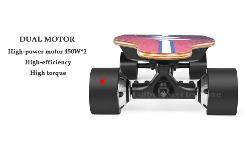 Daibot Adult Electric Scooter Electric Scooters Dual Motor 450W BlackRed Portable Remoter Control 4 Wheels Electric Skateboard (16)