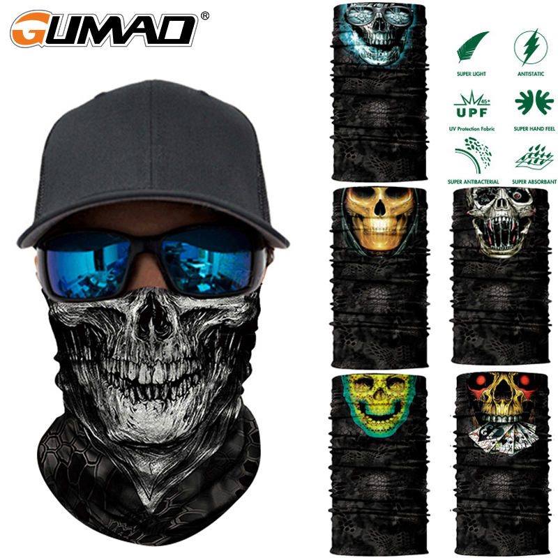 Heinmo Motorcycle 3D Seamless Skull Magic Head Face Mask Shield Sun Neck Balaclava Multifunction Windproof Anti-UV Riding Neck Scarf Headwear
