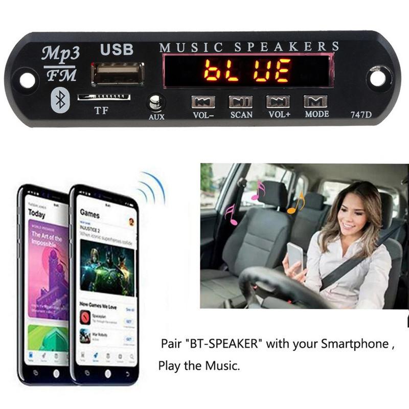 With Mic Handsfree Bluetooth MP3 Decoder Board Car FM Radio Module Support FM TF USB AUX Audio Player Bluetooth car kit 12V2