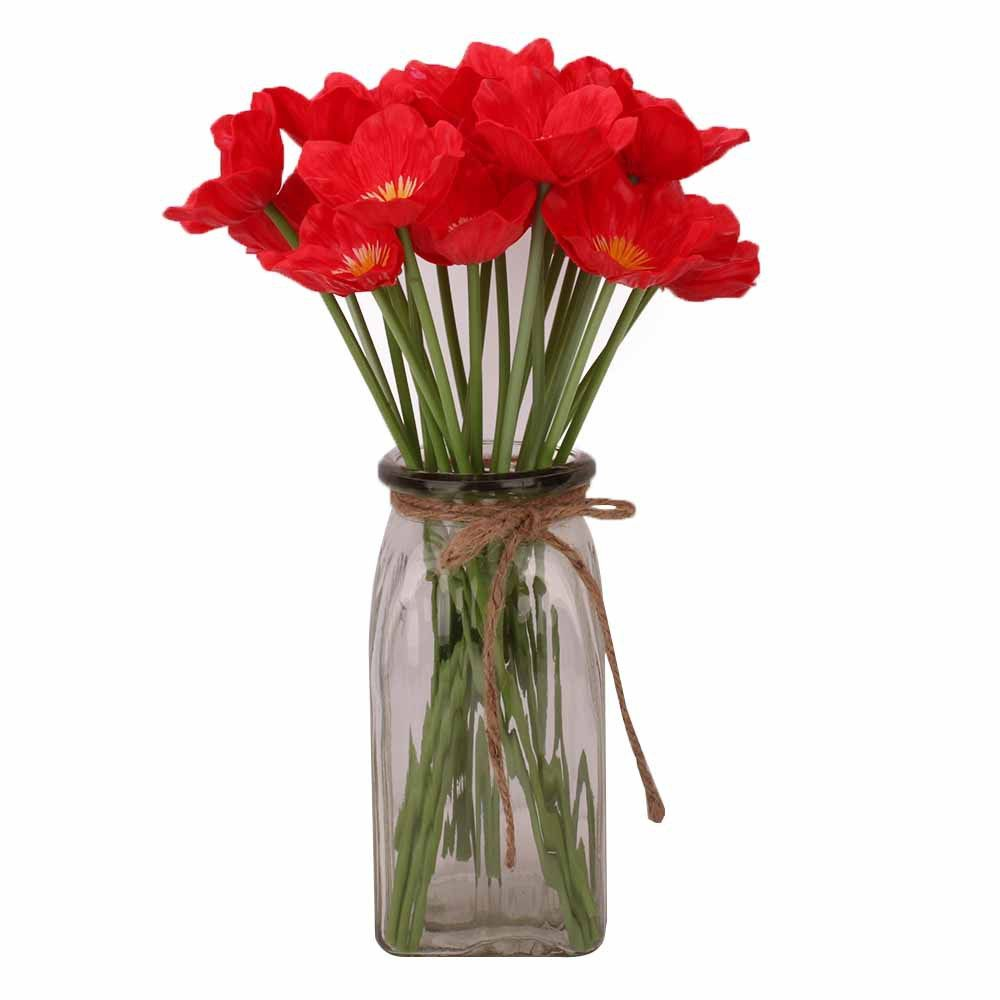Bouquet de 4 Soie Artificielle Coquelicot Rouge Branches