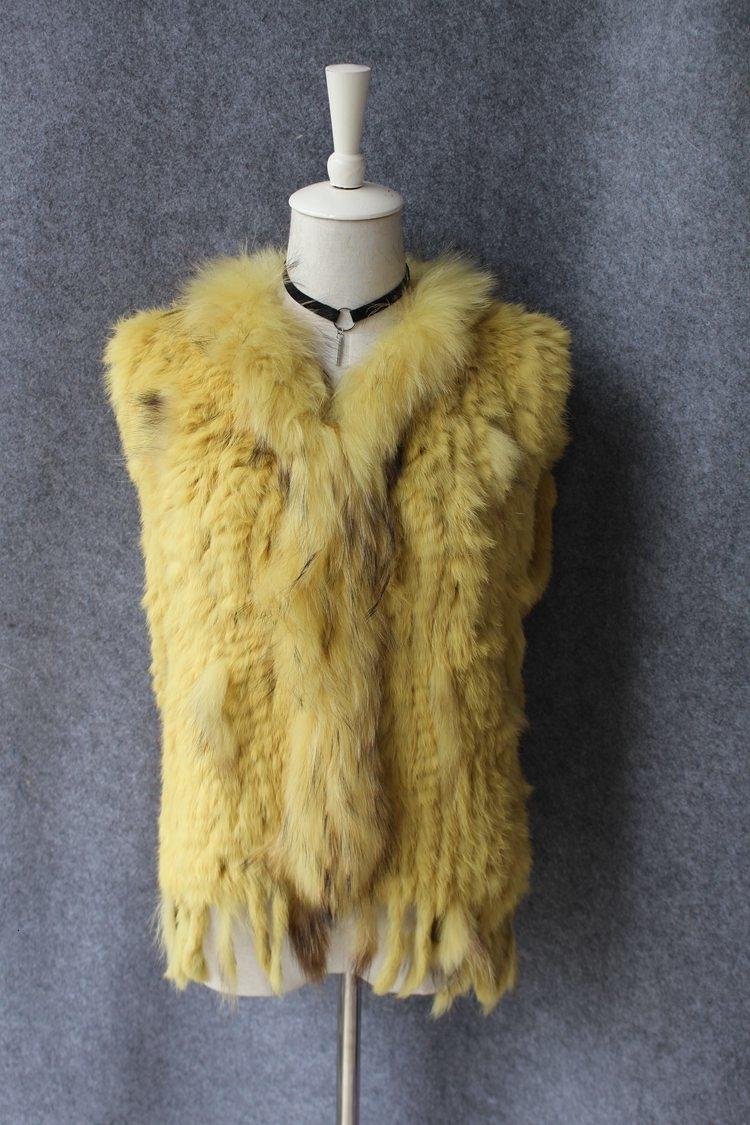 genuine real rabbit fur vest with raccoon fur collar (15)