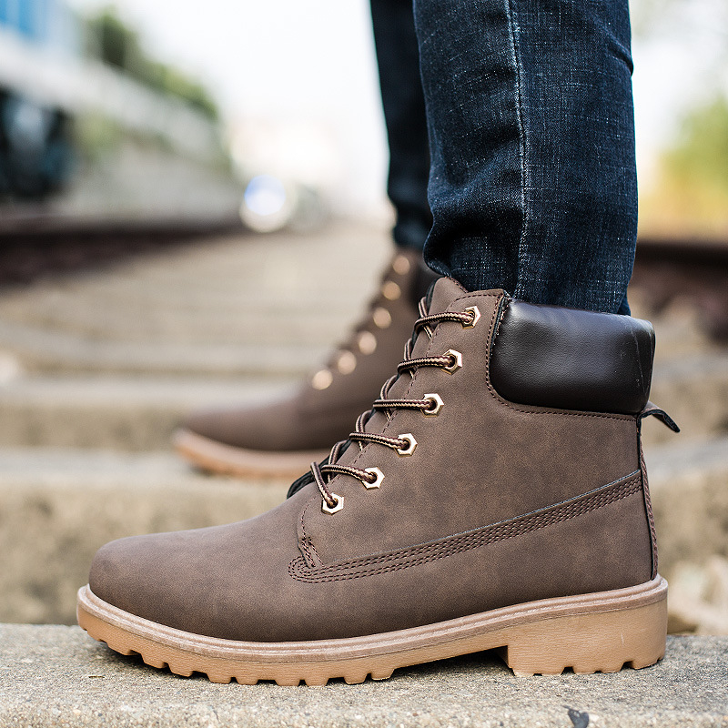 2018 Suede Leather Man Boot Winter Men Boots Ankle Shoes Warm Snow Velvet Fur Work Martin Cowboy Motorcycle Male Shoe Lace-up MX190819