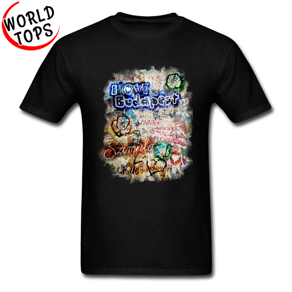 Graffiti Szimpla I Love Budapest Mother Day Pure Cotton Round Collar Tops T Shirt Funny Clothing Shirt Wholesale Top T-shirts Graffiti Szimpla I Love Budapest black