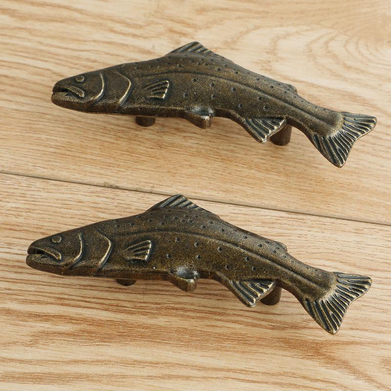 50mm retro antique brass fish type kitchen cabinet drawer handle pull bronze dresser cabinet knob handle
