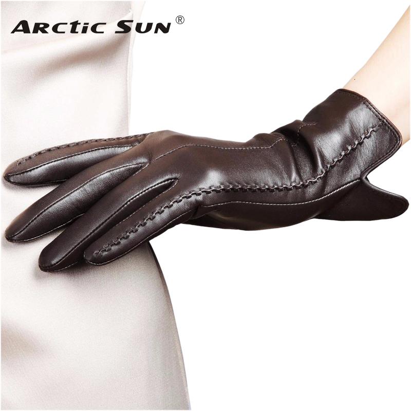 DEMU Handschuhe Damen Winter Warmer Fingerless Lammfell Fausthandschuh F/äustlinge