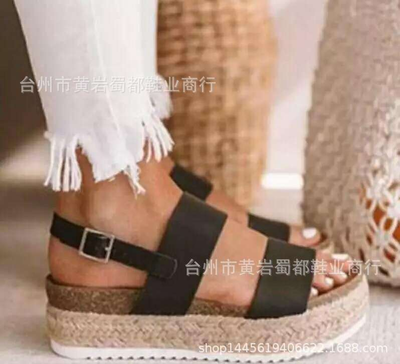 Fairy2019 Thick Fisherman Bottom Shoes Straw Plaited Article Fishmouth Shoe Muffin Base Will Sandals