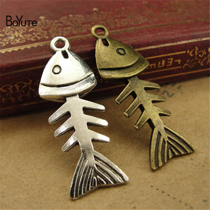 BoYuTe (50 PiecesLot) Vintage Fish Bone Jewelry Pendant Charms European Popular Halloween DIY Alloy Materials Accessories (3)