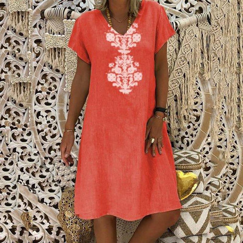 Women Dresses Knee Length Streetwear Fashion Summer Dress Women Plus Size 5XL Cotton Linen Dress Vintage Casual Vestidos Mujer 6