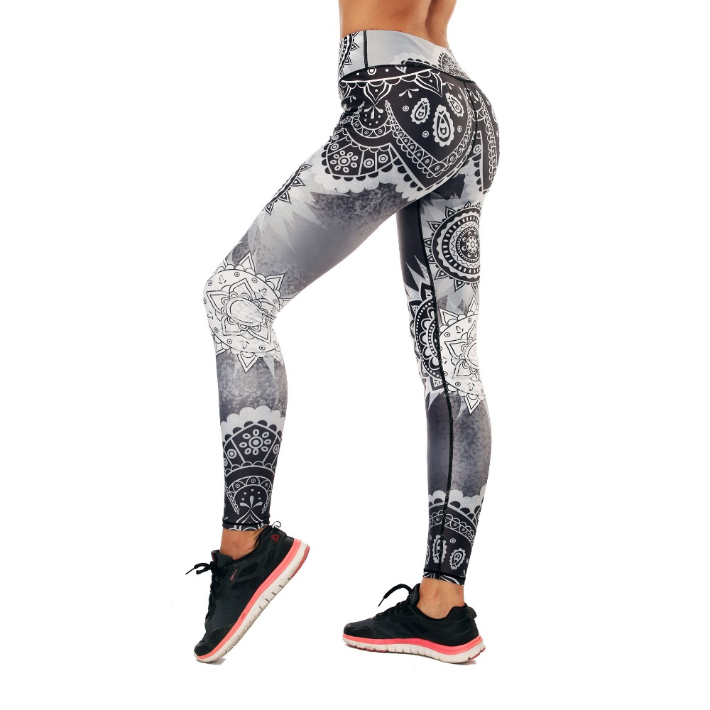 Fashion new style national style ladies casual pants black and white pattern digital printing tight high waist hip body feet pan