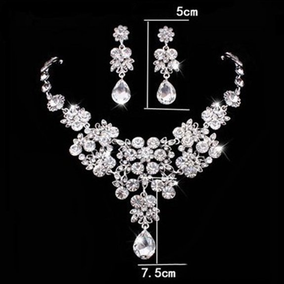 Rhinestone Jewelry Sets Necklace Pendant Tiaras Earrings For Women Pageant Wedding Crowns Bridal Hair Accessories (5)
