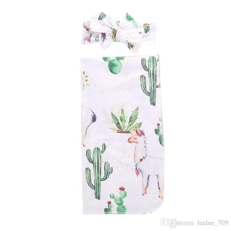Bebek Bebek Kundak Battaniye Erkek Kız Alpaka Battaniye Şapka Çiçek Baskılı Yumuşak Pamuk Uyku Çuval Karikatür Hayvan Uyku Tulumları Gga2067
