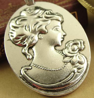 Fashion Vintage Queen base time gem charms pendant 40*30MM antique silver bronze bag earring bracelet necklace
