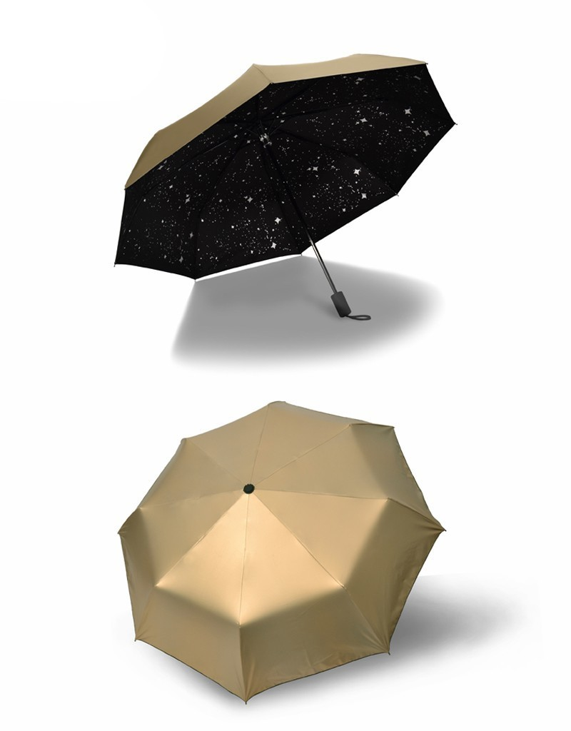 Fashion Black Stars Women Umbrella Three Fold Wind Resistant Anti UV Sun Umbrella Sunny And Rainy Dual-use Male Parasol14