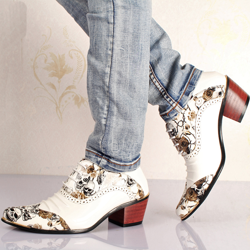 Mens Dress Shoes British Style Hidden Heels Pointed Toe Pull On Platform Shoes