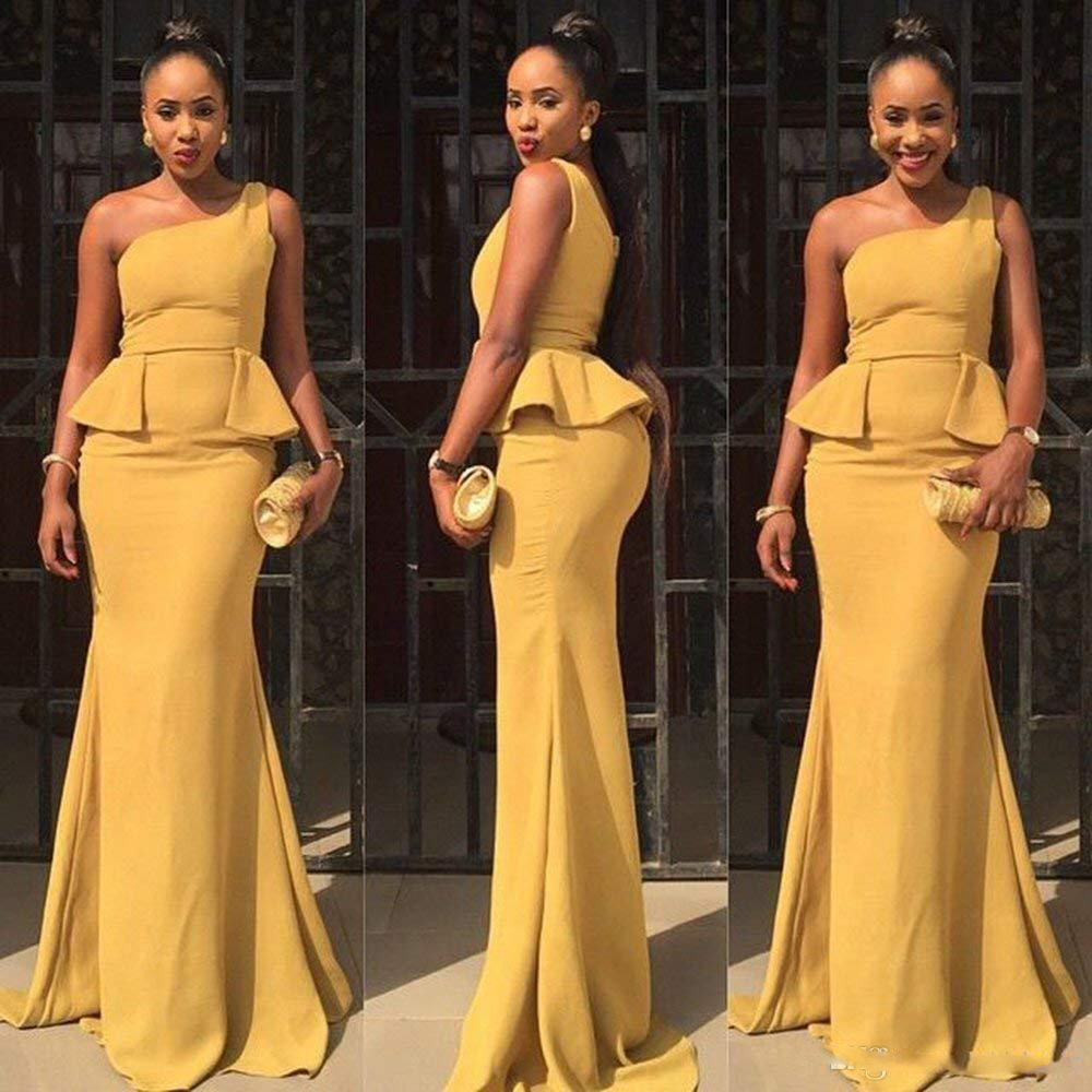 neue meerjungfrau abendkleider eine schulter rüschen plus size prom formale  kleider für afrikanische frauen günstige usa kleider abendgarderobe