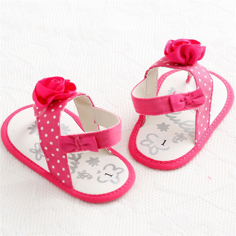 Summer Baby Girls Shoes Toddler Newborn Baby Girls Flower Dot Sandals Soft Sole Anti-slip Shoes Baby Girls Sandals M8Y16 (5)