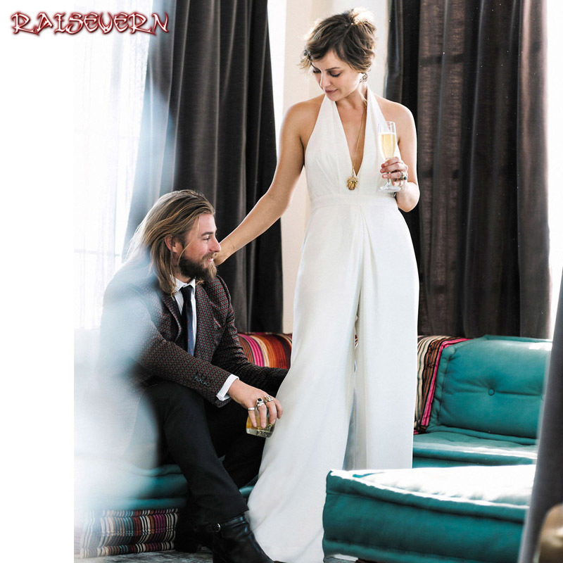 RAISEVERN 2018 Casual Wedding Jumpsuit Sexy Sleeveless Halter Elegant Jumpsuit Ladies Coverall Deep V Neck Sexy Halter Romper