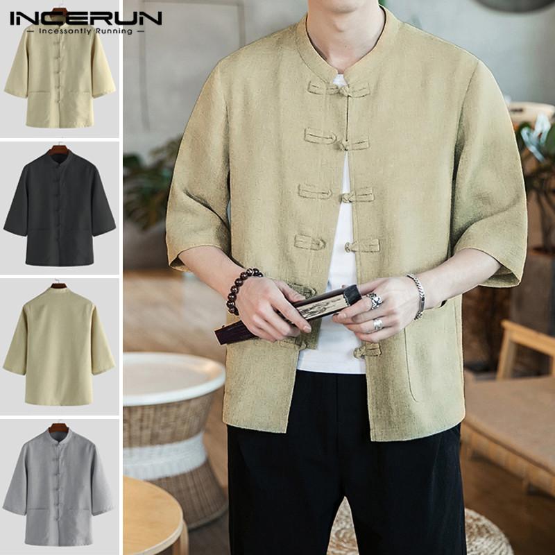 Men/'s Kung Fu Tang Suit Fashion Loose Fit Vintage Casual Outwear Cotton Blend T0