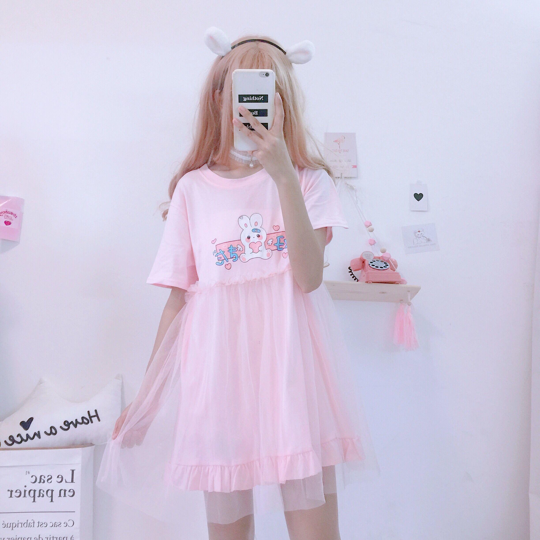 Summer Lolita Dresses 2019 Japanese Kawaii Rabbit Cute Anime Short Sleeve Pink White Dress Casual T Shirt Dress Female Clothing Y19051001