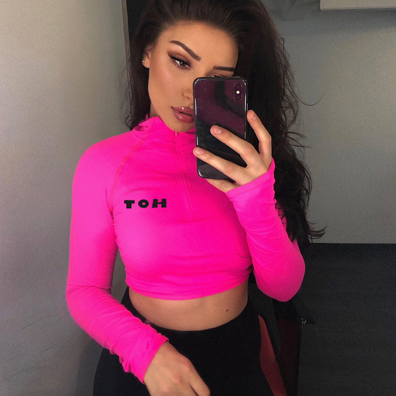 Anjamanor Tracksuit Women Two Piece Outfits Neon Long Sleeve Shirt Crop Top Biker Shorts Spring 2019 Sexy Sweatsuit D70-ae96 J190507