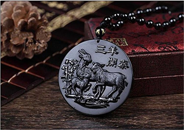 Fine Jewelry Handmade Obsidian Auspicious Three Goat Sheep Pendant Necklace