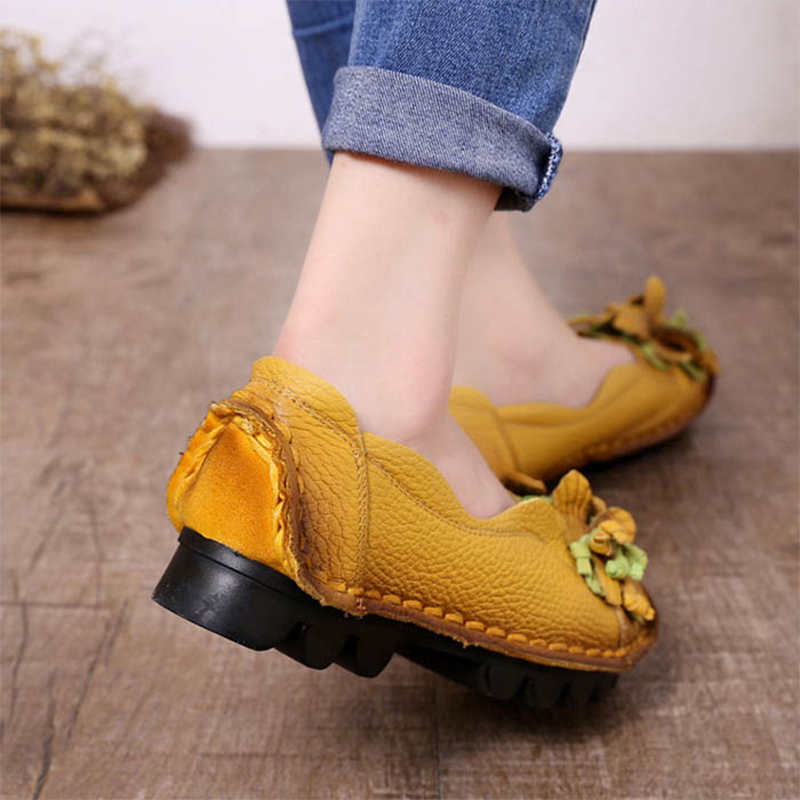 2019 Casual Women Shoes Genuine Leather Ladies Shoes Flower Loafers Zapatos De Mujer Talon Femme