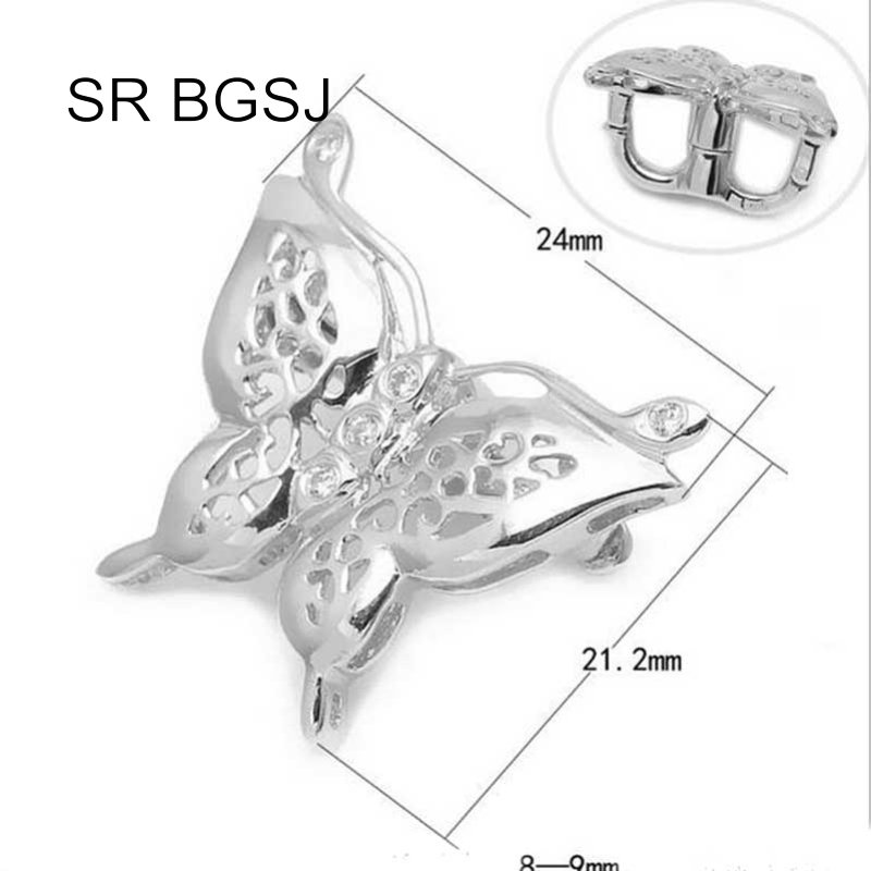 Jewelry DIY S925 Silver White Gold Plated Necklace Butterfly Shortner Clip Hook Clasp