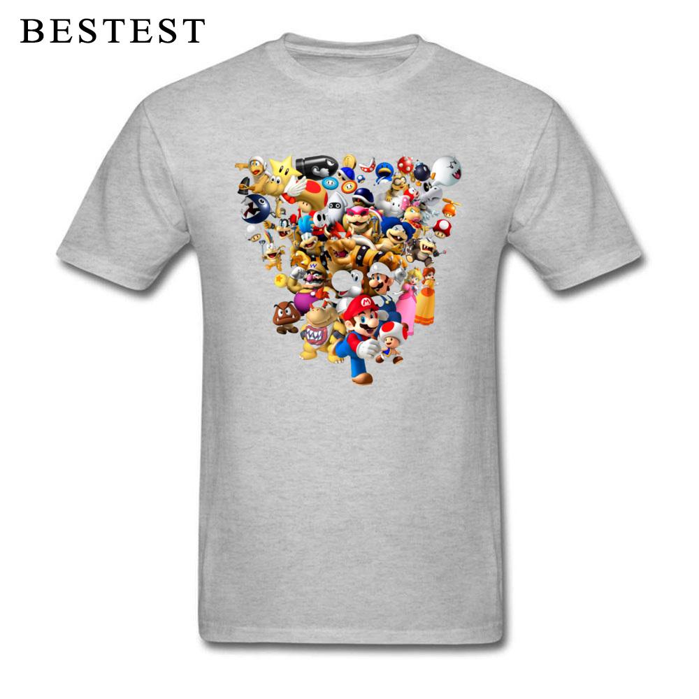 Mario Bros All Star 1825 Summer Fall 100% Cotton Crewneck Tops & Tees Short Sleeve Family Tops T Shirt High Quality T Shirt Mario Bros All Star 1825 grey