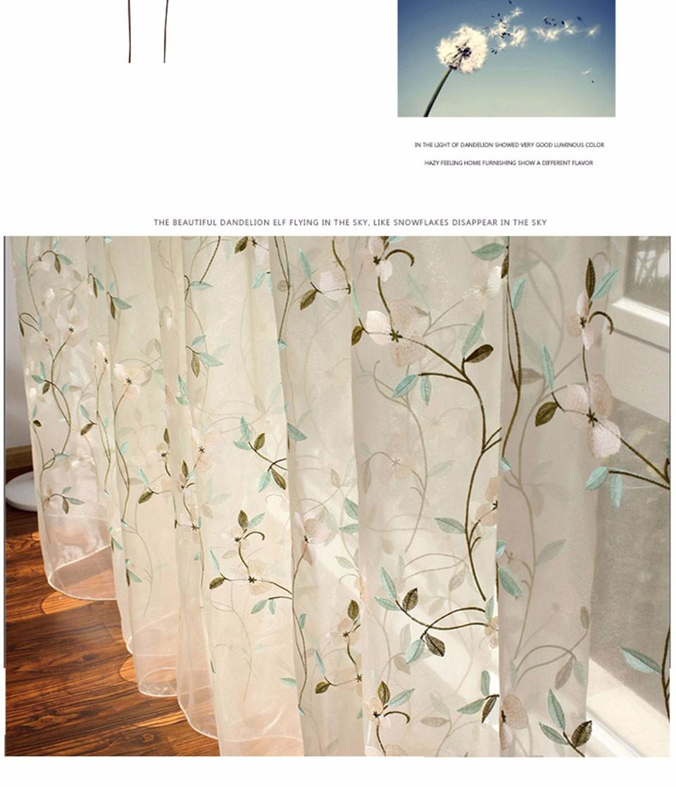 2019 Floral Embroidered Sheer Tulle Curtains For Living Room Girls Jacquard  Pastoral Window Curtain For Bedroom Curtains Cortinas From China_smoke, ...