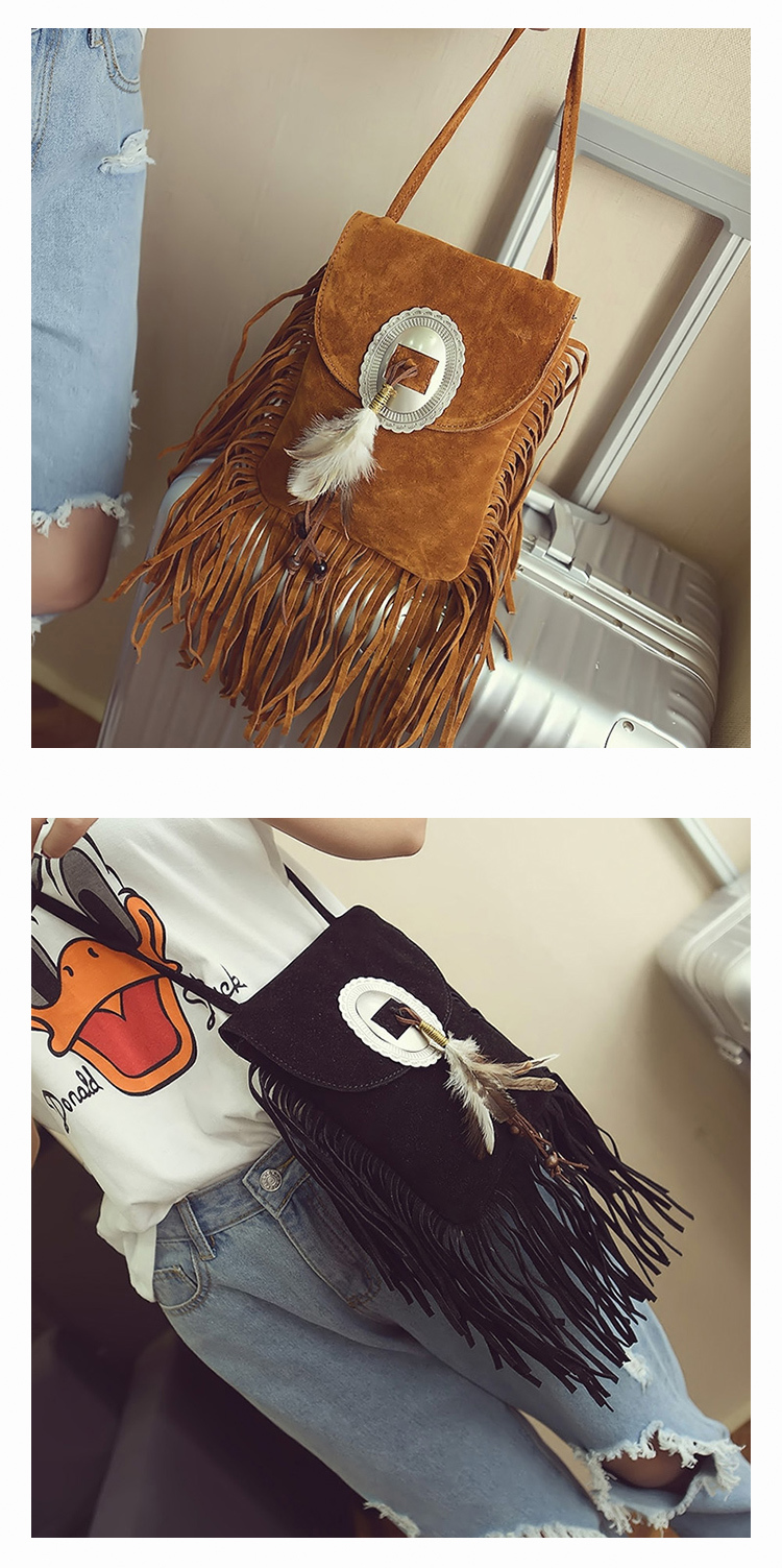 Female Small suede Bag Brown Beaded Feathers Hippie American Indian Tribal Bohemian Boho Chic Ibiza Style Pouch Bag (24)