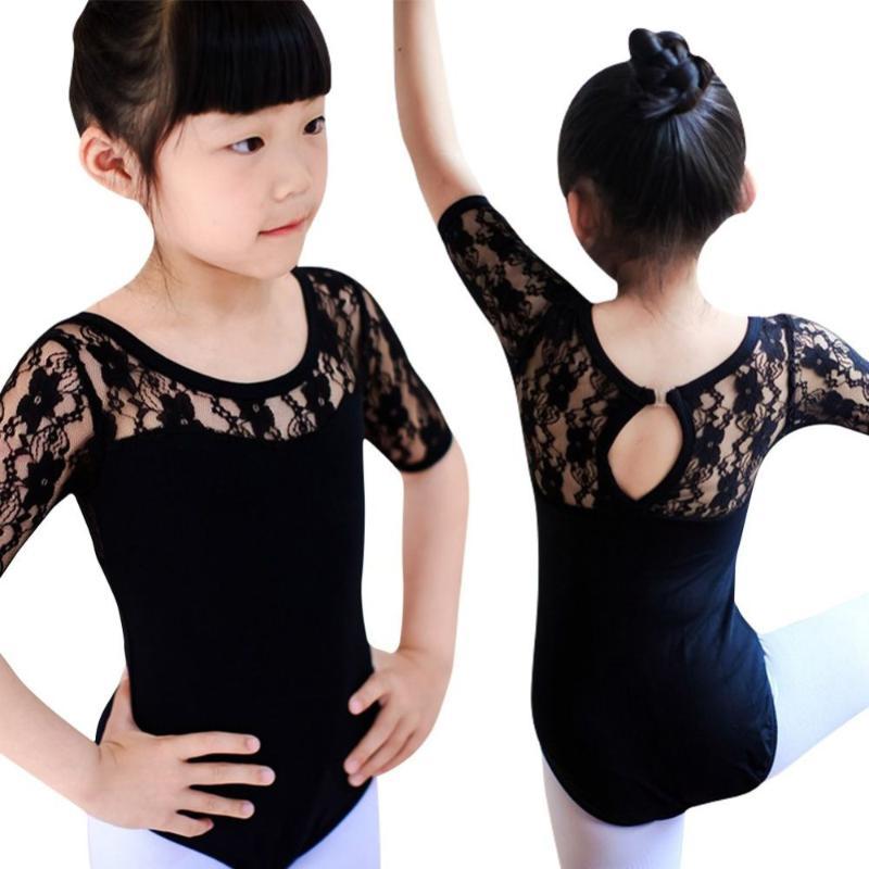 Child Girl Dance Leotard Stretch Bodysuit Ballet Training Dress Kids Lace Top UK
