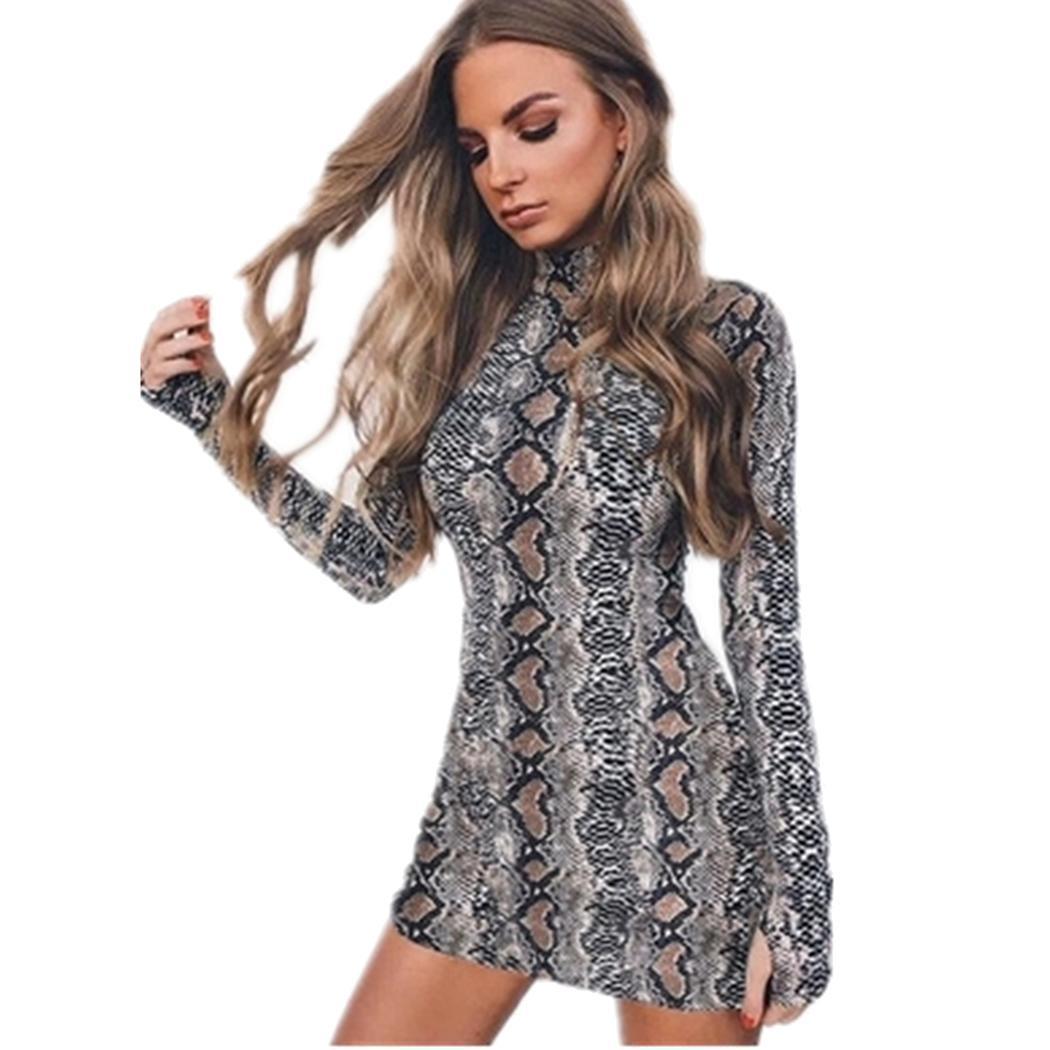 Compre Vestido De Mujer Con Estampado De Serpiente Casual, Cuello Alto, Manga Larga, Mini Vestido, Estampado De Serpiente, Mini Vestido De Moda A