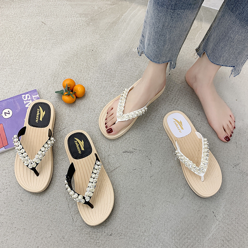 1Crystal String Bead Outside Elegant Shallow Women Slippers Summer Rivet Beach Sweet Flat Flip Flops Solid Soft Shoes