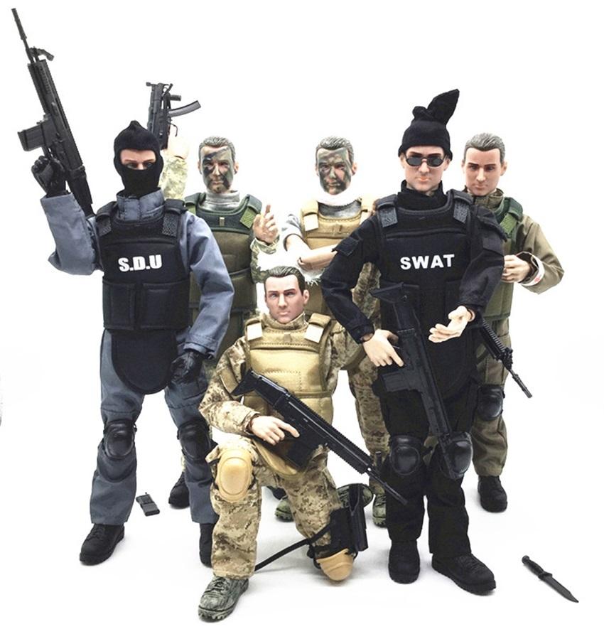 Modèle d/'action Figure Jouets 6 soldats de police masculins avec des armes