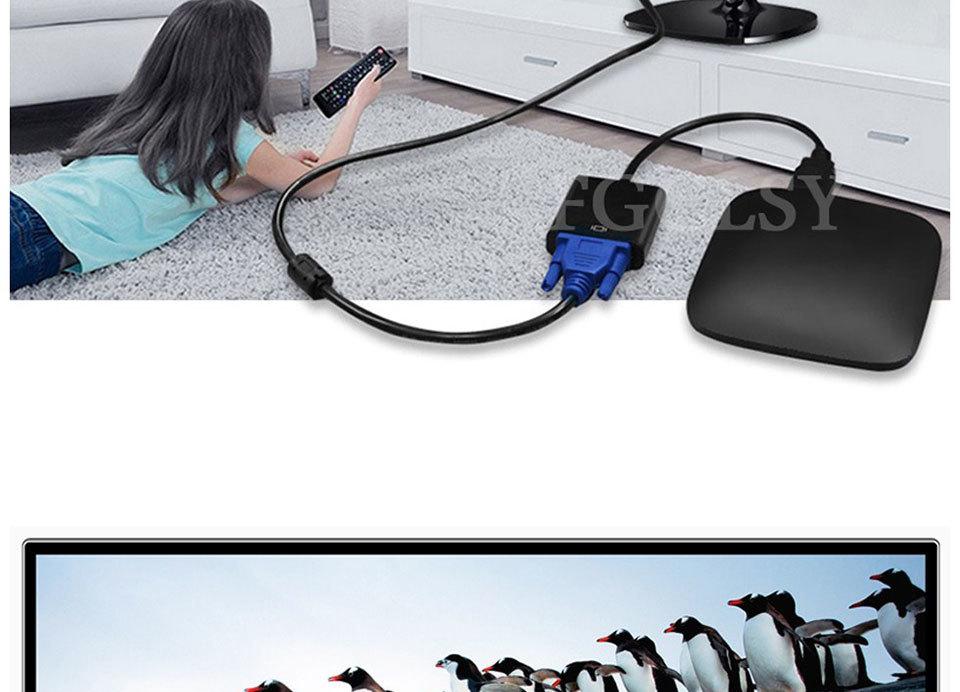 Hdmi Vga Adapter Converter Male Famale 1080p Digital Analógico Video Audio Adaptador para Pc Laptop Tablet To Tv precio más bajo