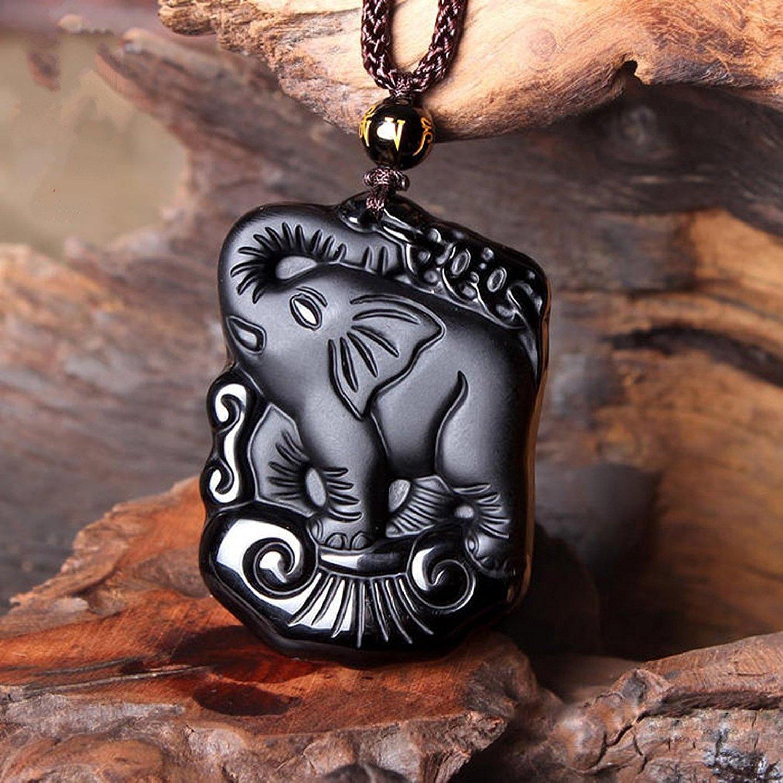 Obsidienne naturelle auspicieux riche mère Éléphant pendentif jade collier pendentif livraison gratuite